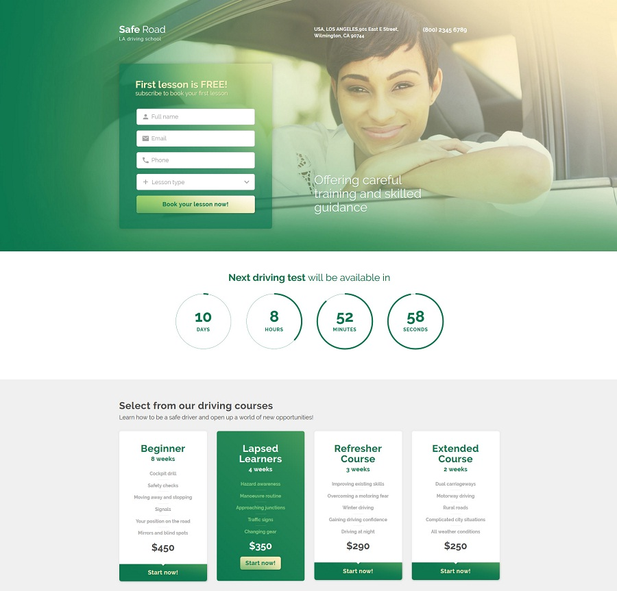 Traffic School Landing Page Template