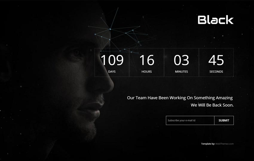 Top 15 free website under construction coming soon templates black is a simple and clean web template with a background html canvas animation it has a responsive design that is compatible with multi devices and it pronofoot35fo Gallery