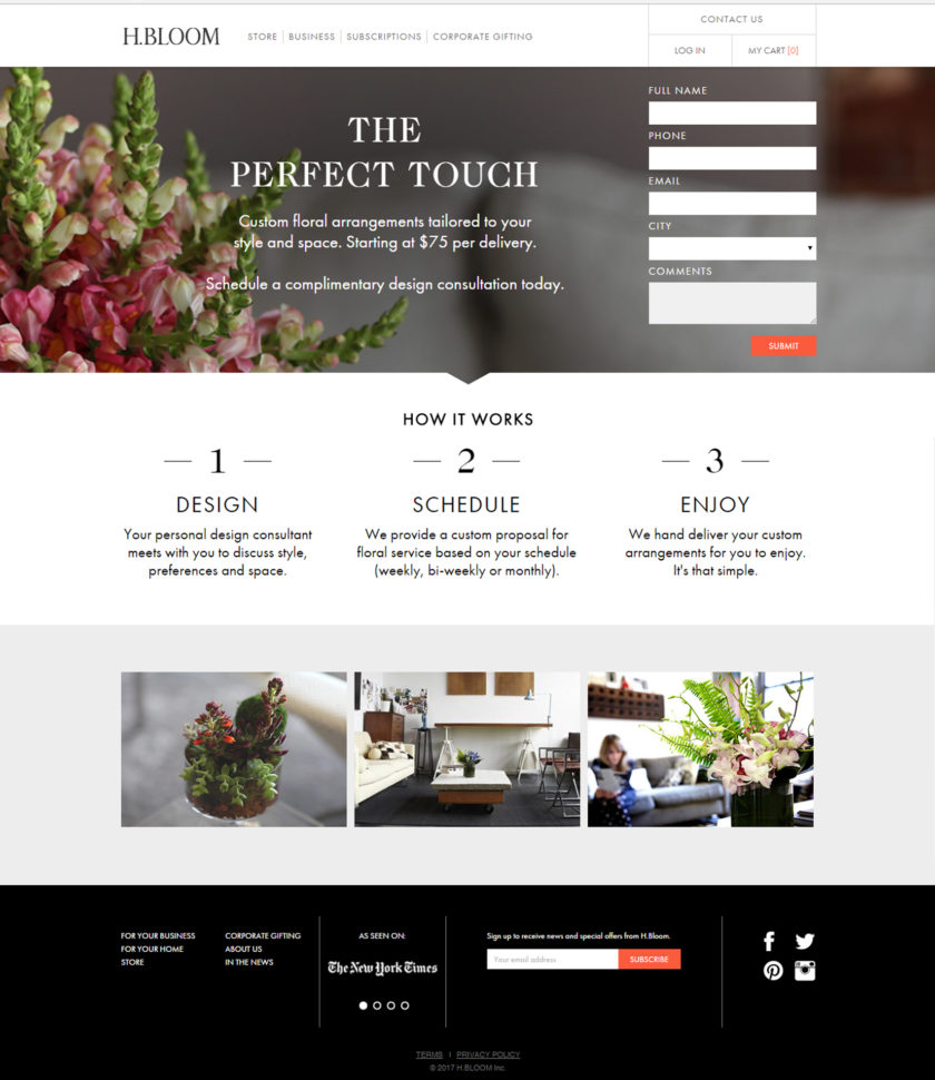 h.bloom landing page