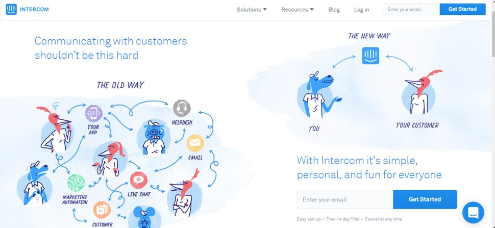 intercom landing page