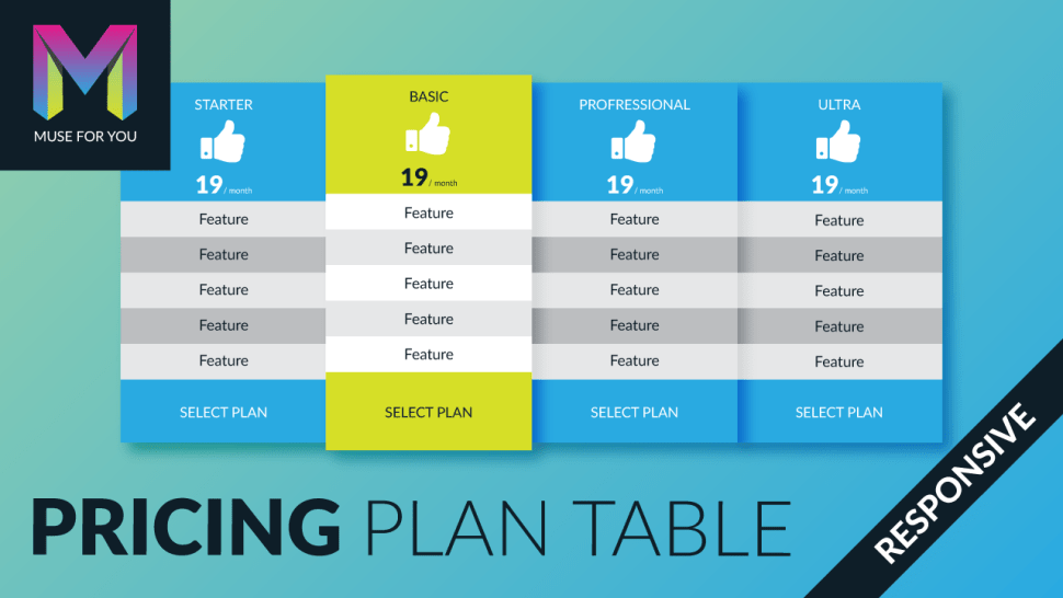 Muse For You - Responsive Pricing Plan Table Widget - Adobe Muse CC