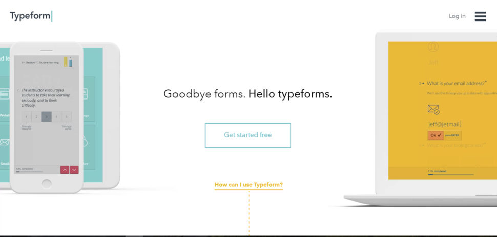 typeform website design