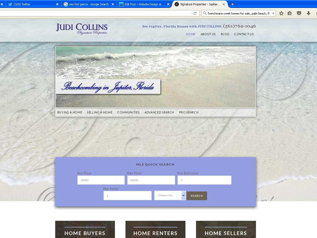 Website Design for Judi Collins Realtor Frenchmans Creek FL
