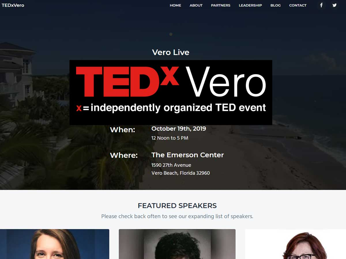 TEDxVero - Website Design, Vero Beach, 32963