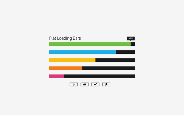 Flat Loading Bars + Icons