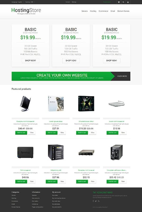 Your Zone Hosting Store PrestaShop Theme