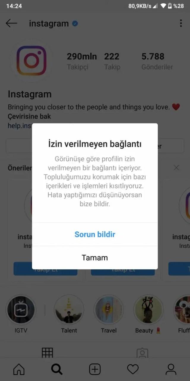 instagram izin verilmeyen bağlantı hatası çözümü