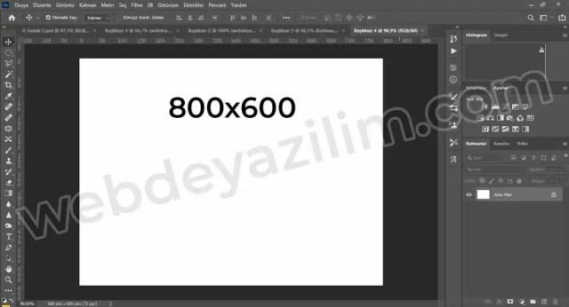 800x600 Ölçülerinde Photoshop Çalışma Alanı