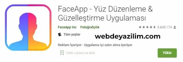 faceapp android uygulama