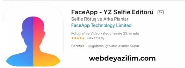 faceapp ios uygulama