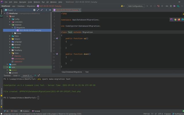 Codeigniter 4 make:migration test.php dosyası örneği