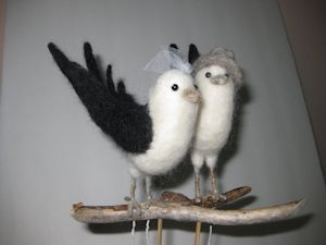 """""""Barn Swallow"""" Cake topper needle felted"""