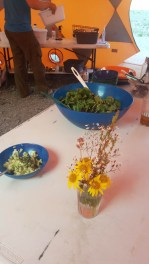 Buffet table with fresh flowers