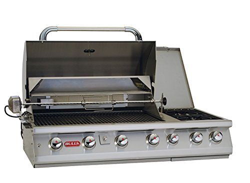 Bull Outdoor Products 18249 47-Inch 7 Burner Premium Stainless Steel Gas Barbecue with Built-in Dual Sideburner and Infrared Back Burner, Natural Gas