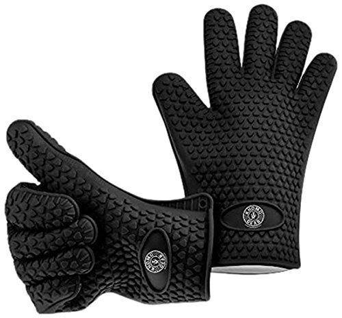 KHOMO GEAR – Pair of Heat Resistant Oven Gloves – For BBQ Grill / Ovens / Kitchen – One Size Fits Most – Black