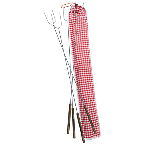 Rome's #3400-S Set Of 4 Hot Dog Roasting Forks with Ginham Print Cotton Storage Bag, 34 Inch Length
