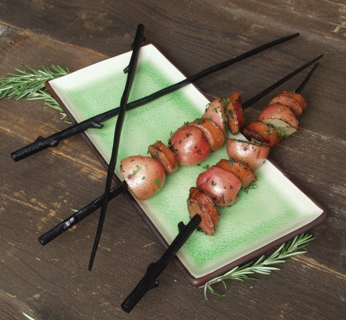 Charcoal Companion Cast Iron Twig Grilling Kabob Skewers, Set of 4