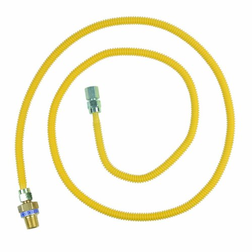 BrassCraft CSSL45E-72 P 3/8-Inch Outer Diameter Safety Plus Gas Appliance Connector with Excess Flow Valve