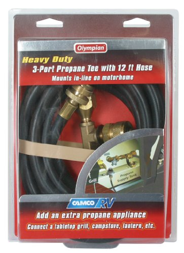Camco 59103 Propane Brass Tee with 3 Port and 12′ Hose