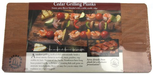 Nature's Cuisine NC004-4 14 by 7-Inch Cedar Outdoor Grilling Plank, 4-Pack