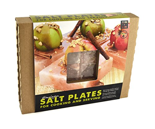 Charcoal Companion CC6059 Himalayan Salt Plate, 5-Inch by 5-Inch by 1.5-Inch, Set of 4.