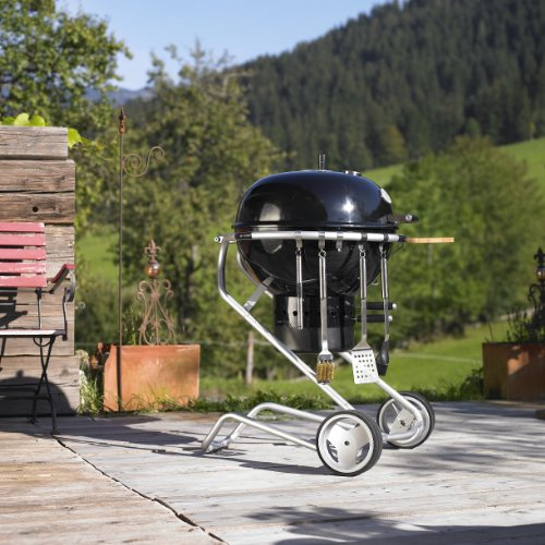 Rosle 25004GWP/1 Charcoal BBQ Grill with Bonus Chicken Roaster, 24-Inch, Black