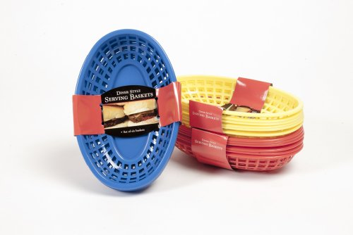 Charcoal Companion CC2019 Plastic Barbecue Serving Baskets, 6/Assorted Colors