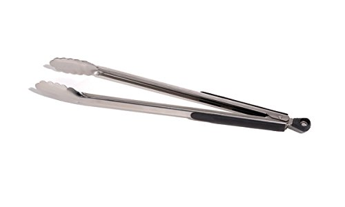 Outset QT20 Stella Stainless-Steel Locking Barbecue Tongs with Soft-Grip Handles