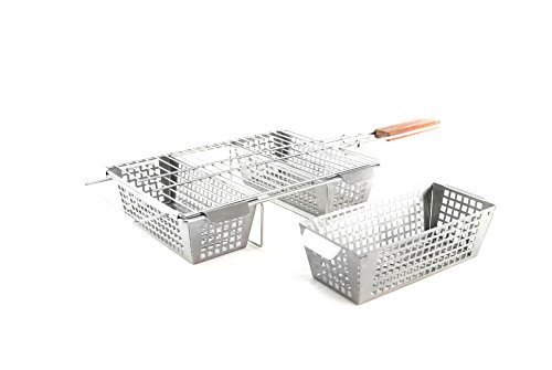 Charcoal Companion CC3129 Stainless 3-Compartment Basket, Steel