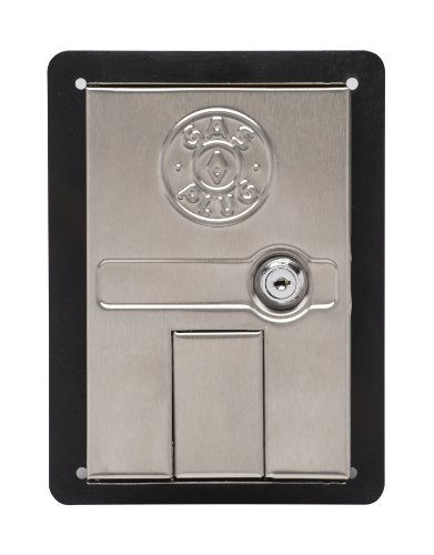 Gas Plug GR0101-SS-50 Recessed Gas Outlet Box with 1/2-Inch Inlet, 3/8-Inch Outlet, Black PVC Enclosure and Stainless Steel Lockable Door
