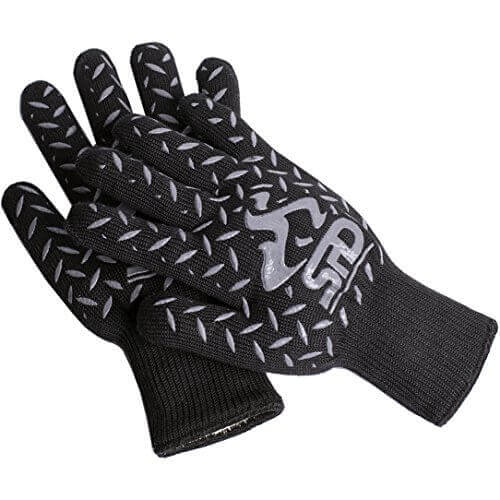 SPD BBQ Grill and Oven Gloves, 932°F Heat Resistant Gloves, Cooking or BBQ Grill Mitts including Lining, High Temperature Woodburner Oven Mitts, 100% Extreme Protection Kevlar & Aramid Gloves – Black