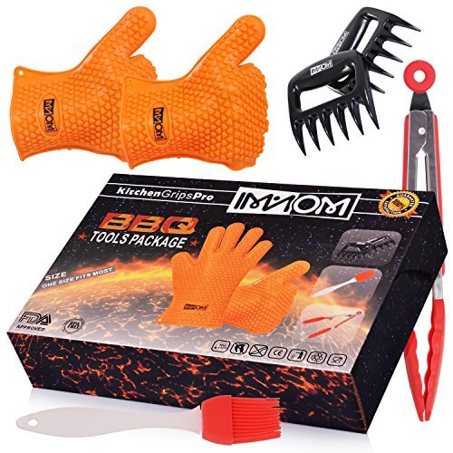 4 IN 1 Imanom Heat Resistant Silicone Oven Gloves BBQ Accessories Include Meat Claws Basting Brushes Food Tongs for Cooking, Grilling, Baking, Smoking Barbecue Potholder