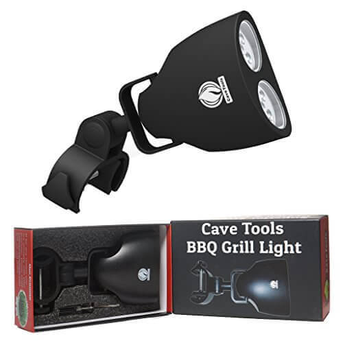 Barbecue Grill Light – LUXURIOUS GIFT BOX – Upgraded Handle Mount Fits Round & Square Bars on Weber & Big Green Egg BBQ Pits – 10 LED for Grilling at Night – Best Lighting Accessories – Cave Tools