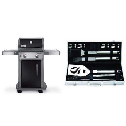 Weber 46110001 Spirit E210 Liquid Propane Gas Grill, Black with Cuisinart Grilling Set