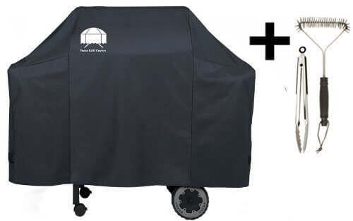 Texas Grill Cover 7573   7106 Premium Cover for Weber Spirit 200 and 300 series and Weber Genesis Silver Gas Grill Including Grill Brush and Tongs