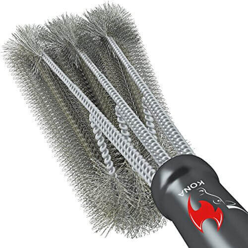 360° CLEAN GRILL BRUSH By Kona(TM) – 18″ Best BBQ Grill Brush – 3 Stainless Steel Brushes In 1 Provides Effortless Cleaning – FREE 5 YEAR REPLACEMENT – Great BBQ Accessories Gift – Stiff Light Weight Design – Perfect For Weber, Char-Broil, Porcelain & Infrared Grills
