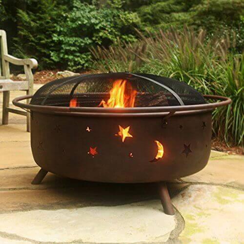 Sunnydaze Large Cosmic Outdoor Patio Fire Pit, 42 Inch Diameter