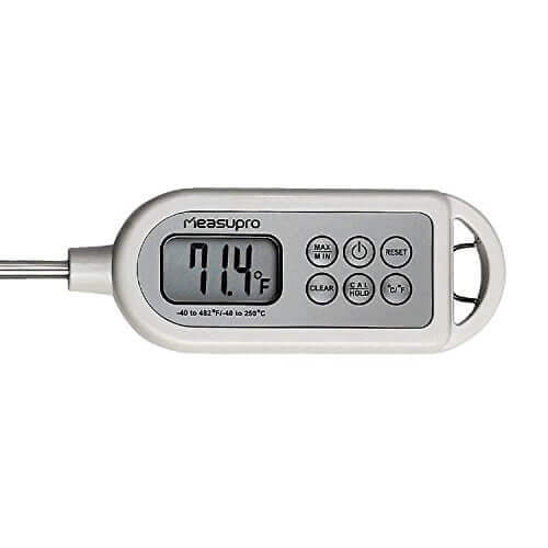MeasuPro ThermoFast IPX7 Waterproof Professional Instant Read Internal Digital Meat Thermometer with Hold Function and Calibration Capability