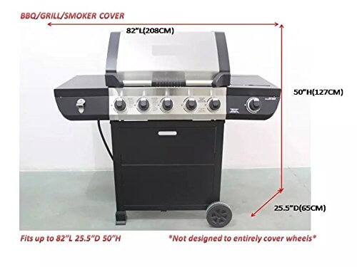 iCOVER 82 Inch Heavy-Duty water proof patio outdoor black oxford oversize BBQ Barbecue Smoker/Grill Cover G21607 for weber char-broil Brinkmann Nexgrill
