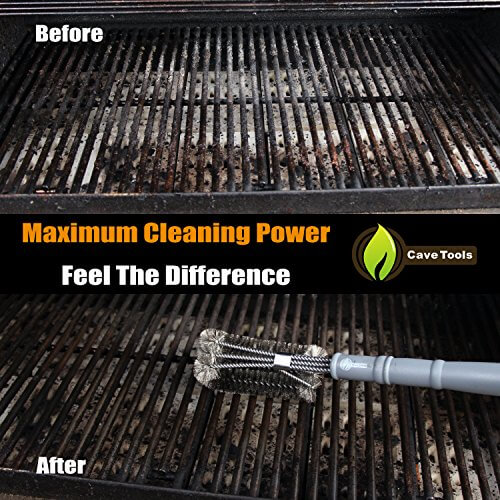 BBQ Grill Brush – ONLY 100% RUST PROOF DESIGN – Stainless Steel Wire Bristles with Strength Clip for Cleaning Char Broil Weber Porcelain and Infrared Barbecue Grates – 18″ Long Handle by Cave Tools