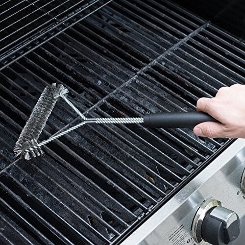 Quiseen Stainless Steel Heavy Duty BBQ Grill Brush Long Safe Handle, 18″ L