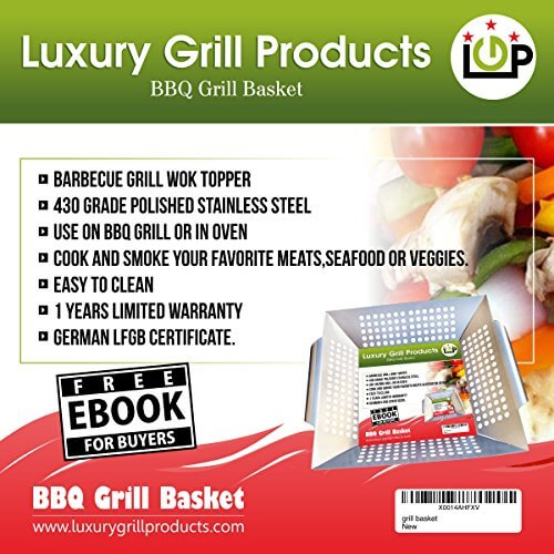 Vegetable Grill Basket-Made from Stainless Steel for Gas & Charcoal Grills,Non-Stick Grill Pan-Perfect for BBQ & Sea food-12″/11.8″/2.3″-Easy to Clean-FREE E-Book with delicious healthy recipes.