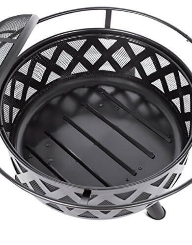 BirdRock Home Round Lattice Patio Fire Pit | 24 Inch | Outdoor Backyard Lawn Garden Fireplace with Cover | Light Weight Metal Fire Ring | Spark Screen | Lid Lift Tool and Fire Poker | Décor | Black