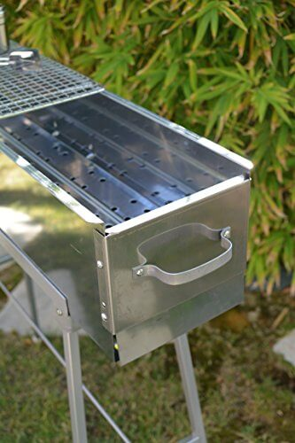Party Griller 32″ Stainless Steel Charcoal Grill – Portable BBQ Grill, Yakitori Grill, Kebab Grill, Satay Grill. Makes Juicy Shish Kebab, Shashlik, Spiedini on the Skewer
