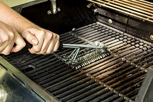 Kuject 3 in 1 BBQ Grill Brush, 18 inch Stainless Steel Barbecue Cleaning Tool for Weber Char-Broil