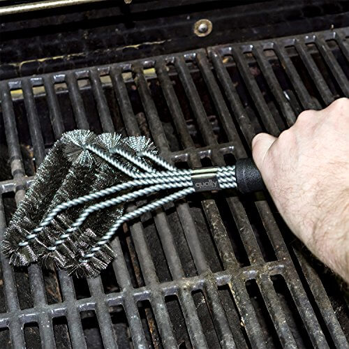 Qually United – The Best 2016 Edition 17″ BBQ Grill Brush with 3 Stainless Steel Brushes in 1 – Universal and Perfectly Angled, this Barbecue Grill Brush is a Must-Have Tool for All Barbecue Lovers
