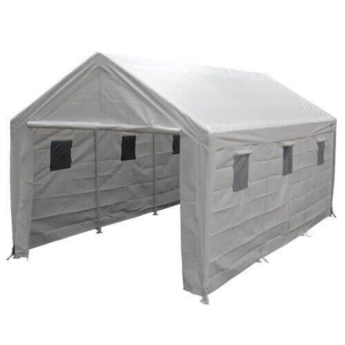 King Canopy HC1020PCSL 10-Feet by 20-Feet Snow load Hercules 8-Leg Canopy Fully Enclosed with Snow Cables, White