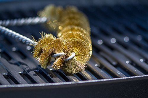 BEST BBQ Grill Brush 12″ – 100% MADE IN USA -Heavy Duty BBQ Tool- BRASS extra wide two levels of bristles are soft safe for all Porcelain Enamel grates- Compare to imported Weber Grill Brush- Large 7 inch wide – BEST seller brush for your Weber or Char-Broil Grill, Charcoal, Gas, Electric, Infrared outdoor BBQ-Grills. Our ONE Year Guarantee-purchase Risk FREE-Look no further you have found the best BBQ Cleaning Brush to last for years