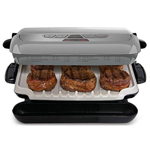 George Foreman GRP4842P Multi-Plate Evolve Grill, (Ceramic Grilling Plates, and Waffle Plates Included), Platinum