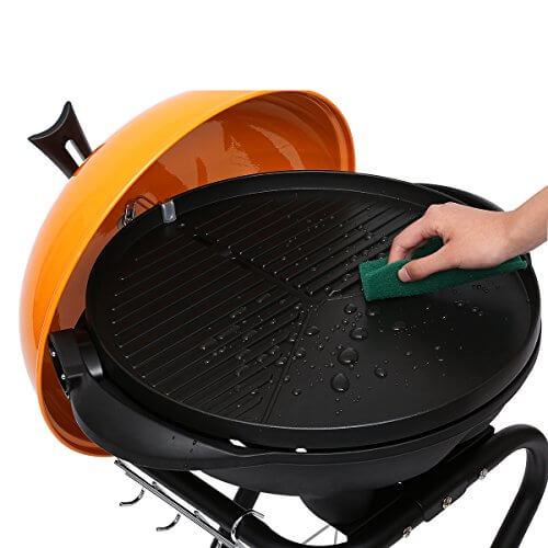 Excelvan Portable 1350W Electric Barbecue Grill with 5 Temperature Settings Ideal for Indoor and Outdoor Use, Smokeless, Non-stick, Easy to Clean, Black